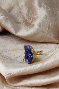 Amethyst rose tip adj ring