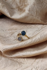 Blue and white drusy adj ring