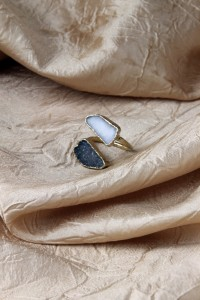 Grey and white drusy adj ring
