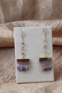 Amethyst slices earrings