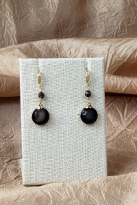 Black drusy drop earrings