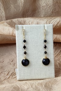Black drusy long teardrop earrings