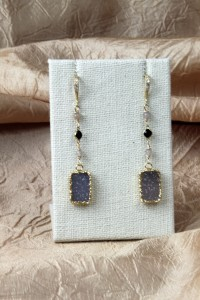 Drusy rectangle earrings