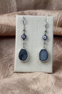 Grey drusy silver earrings