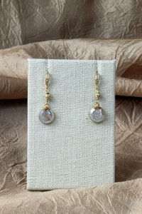 Opalized drusy teardrop earrings