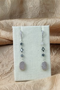 Oval drusy silver earrings