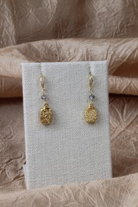 Square gold drusy earrings