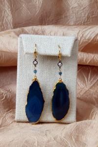 Teal agate slice earrings