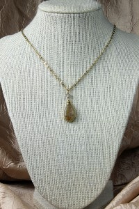 Agate drusy teardrop pendant on gold chain