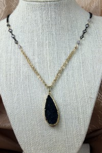 Black drusy drop pendant on gold chain