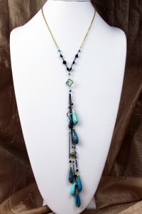 Blue teardrop fantasy lariat on gold chain