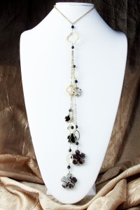 Brown agate flower fantasy lariat on gold chain