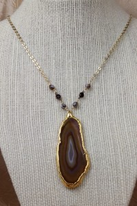 Brown agate slice on gold chain
