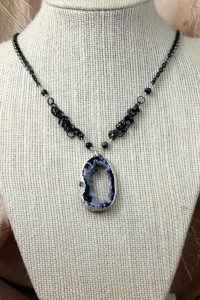 Geode pendant on silver necklace