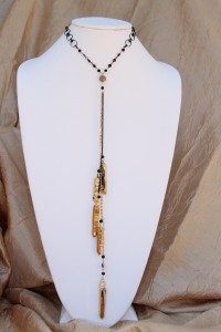 Gold dipped quartz spears lariat necklace