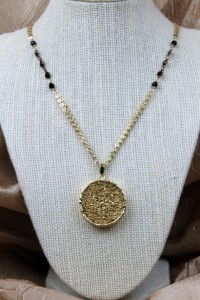 Gold drusy pendant on gold necklace