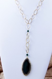 Green agate slice pendant on long gold chain