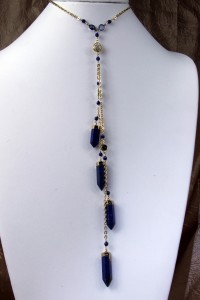 Lapis spears lariat necklace