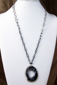 Large geode pendant on long silver chain