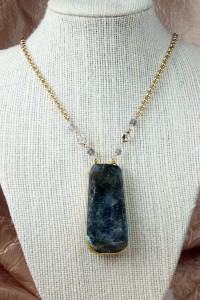 Large opalized labradorite pendant on gold chain