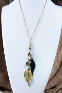 Leaf fantasy on long gold chain