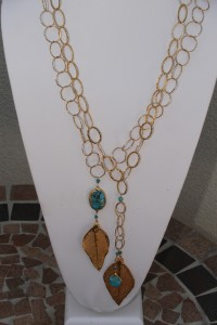 Leaves and turquoise on long necklaces