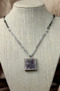 Natural drusy square pendant on silver necklace