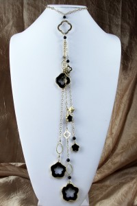 Onyx flower fantasy lariat on gold chain