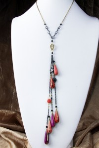 Pink and coral teardrop fantasy lariat on gold chain