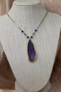 Purple agate slice on gold necklace
