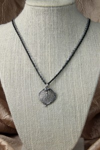 Silver aspen leaf on silver chain