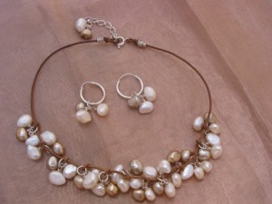 Brown & White Pearls with Leather
