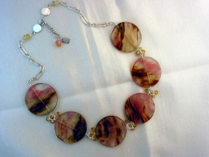 Brown & pink quartz discs on chain