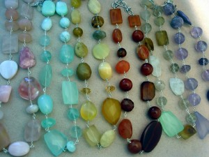Gemstone necklaces on wire