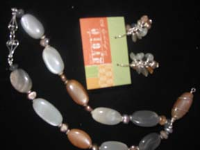 Moonstone necklace and earrings