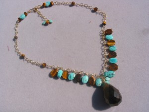 Tiger eye and turquoise on chain